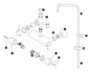 Alya Bar Mixer Shower with Diverter Spares