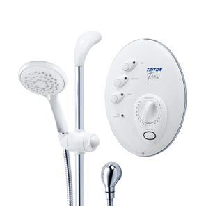 T300si Wired Electric Shower - White/Chrome