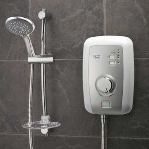 Perea Electric Shower-White/Brush Steel